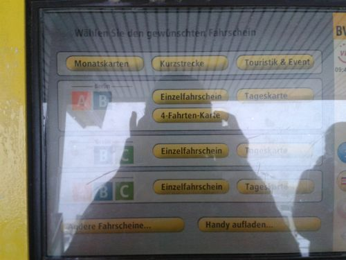 Berlin, Germany - Berlin ticket machine screen - Berlin Schonefeld Airport car hire