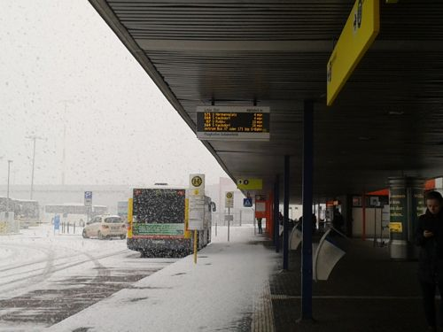 Berlin, Germany - bus stop outside the airport - Berlin Schonefeld Airport car hire