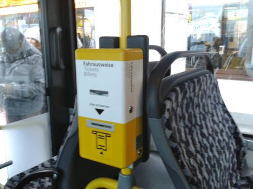 Berlin, Germany - ticket validator on the bus - Berlin Schonefeld Airport car hire