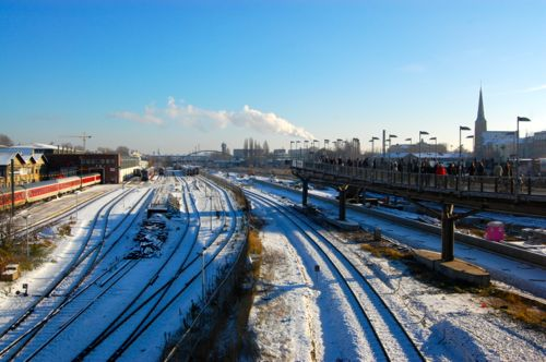 Berlin, Germany - train lines at Warschauer Strasse - Berlin Schonefeld Airport car hire.