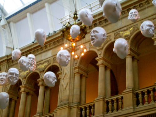 Glasgow, Scotland - heads at the Kelvingrove Art Gallery and Museum - Glasgow Airport car hire