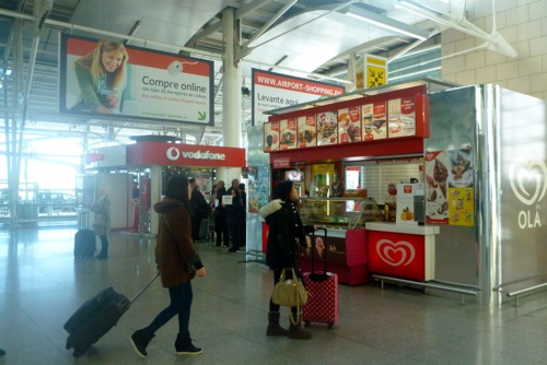 Lisbon, Portugal - Arrivals Vodafone and ice cream rent-a-car pick up point - Lisbon Airport car hire