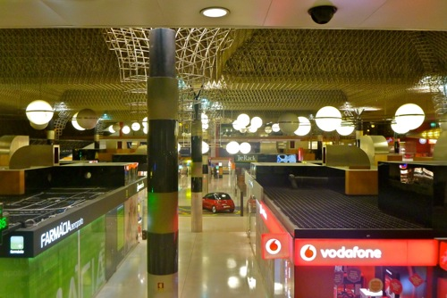 Lisbon, Portugal - Departures T1 shops in the public area - Lisbon Airport car hire
