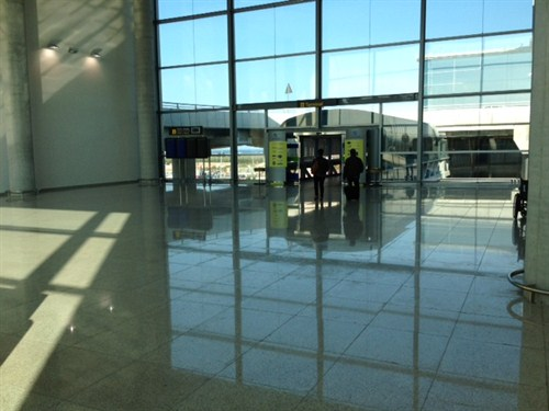 The car hire return lobby at Alicante Airport Spain
