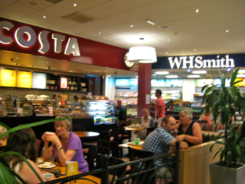 London Luton Airport - costa coffee and wh smith - Luton Airport car hire