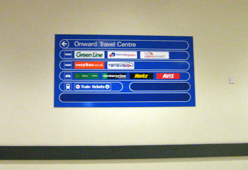 London Luton Airport - onward travel centre sign - Luton Airport car hire