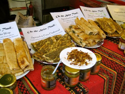 London, UK - Real Food Market Moroccan food stall - London car hire
