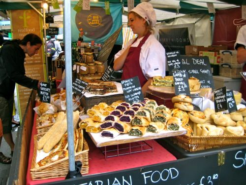 London, UK - Real Food Market food stall - London car hire