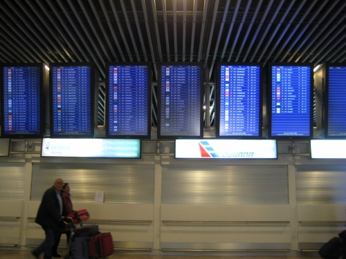Madrid Airport T1 - screen check for check-in desks: Madrid Airport car hire