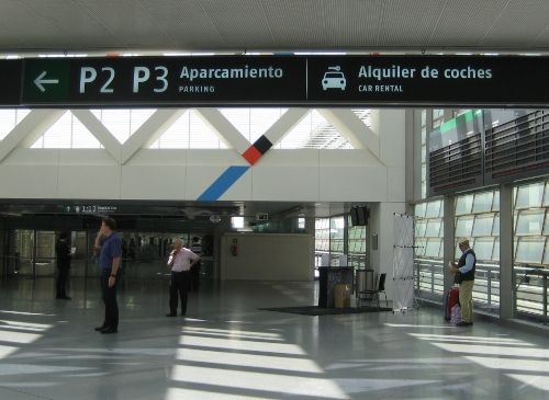 Madrid Atocha Railway Station - sign to car rental offices: Madrid Atocha Station car hire