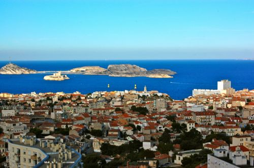 Marseille, France - Notre Dame de la Garde, view of Frioul islands - Marseille car hire